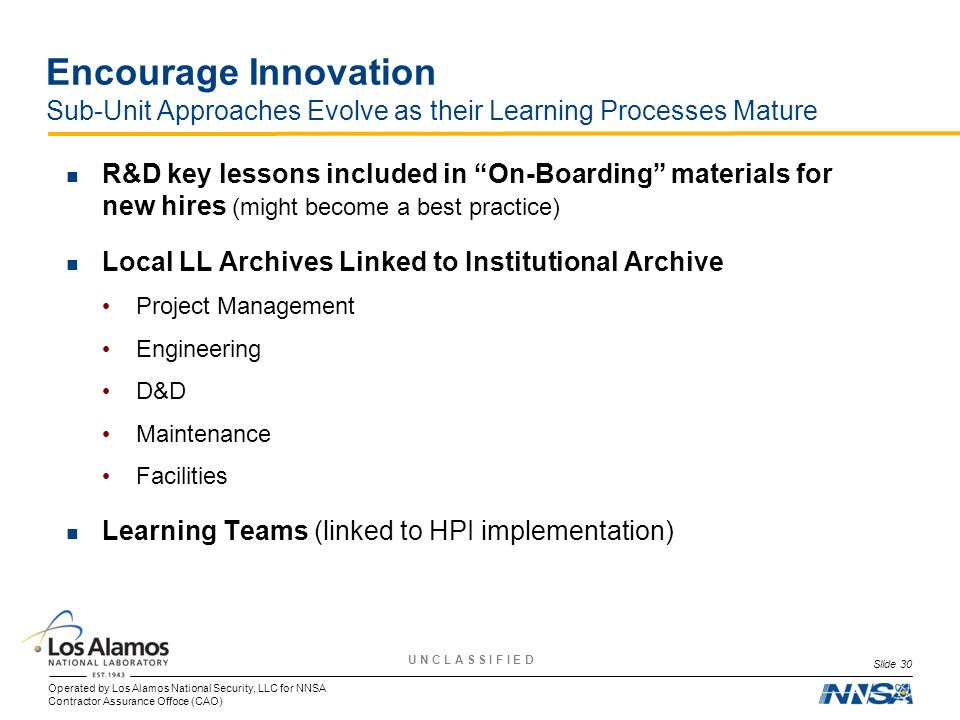 Encourage Innovation Sub-Unit Approaches Evolve as their Learning Processes Mature