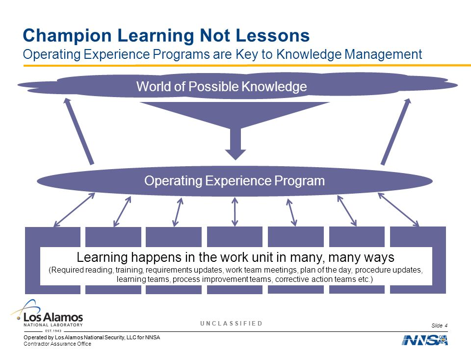 Champion Learning Not Lessons Operating Experience Programs are Key to Knowledge Management