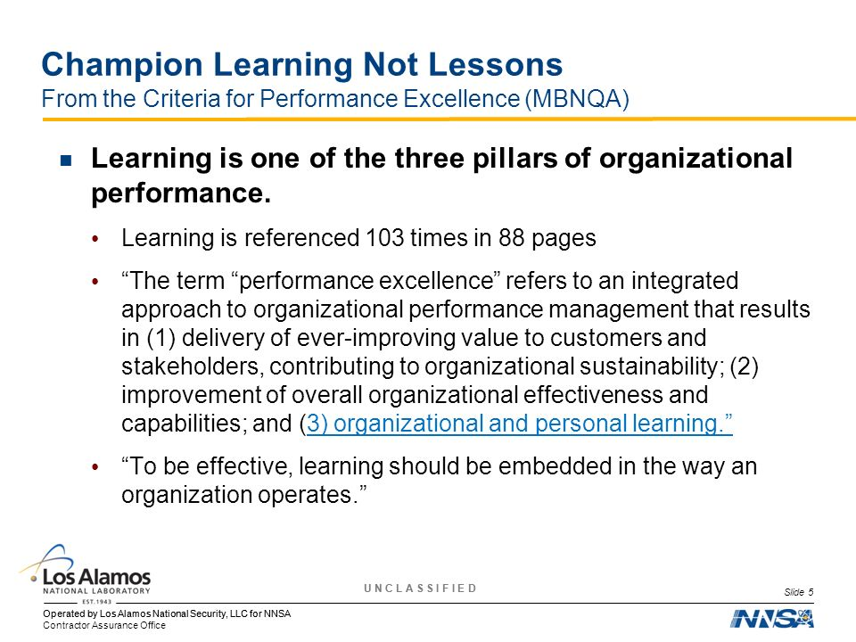 Champion Learning Not Lessons From the Criteria for Performance Excellence (MBNQA)