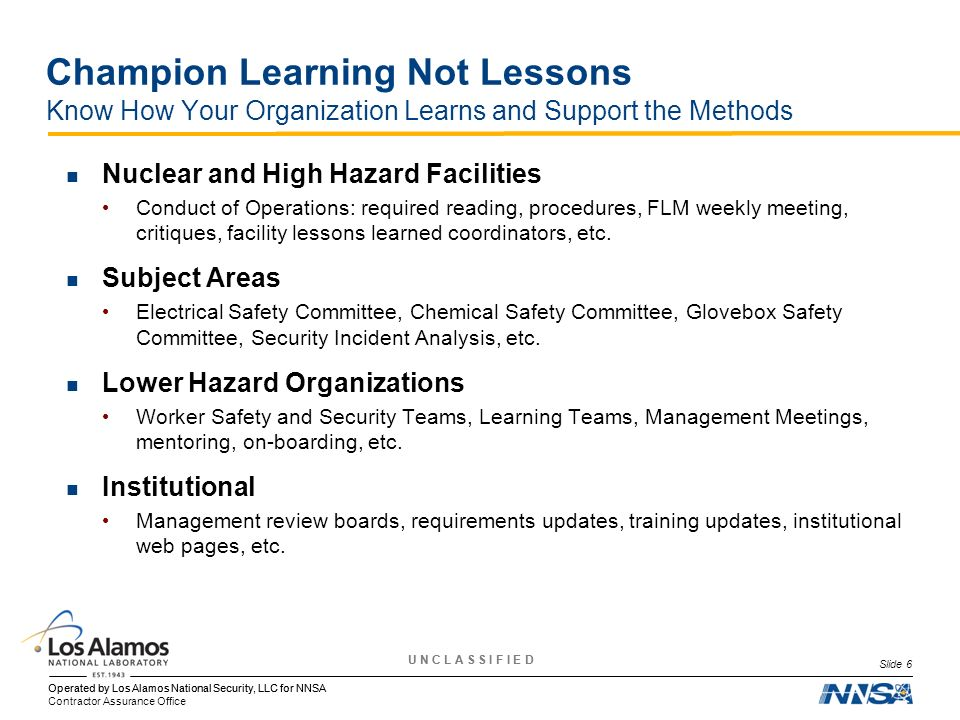 Champion Learning Not Lessons Know How Your Organization Learns and Support the Methods