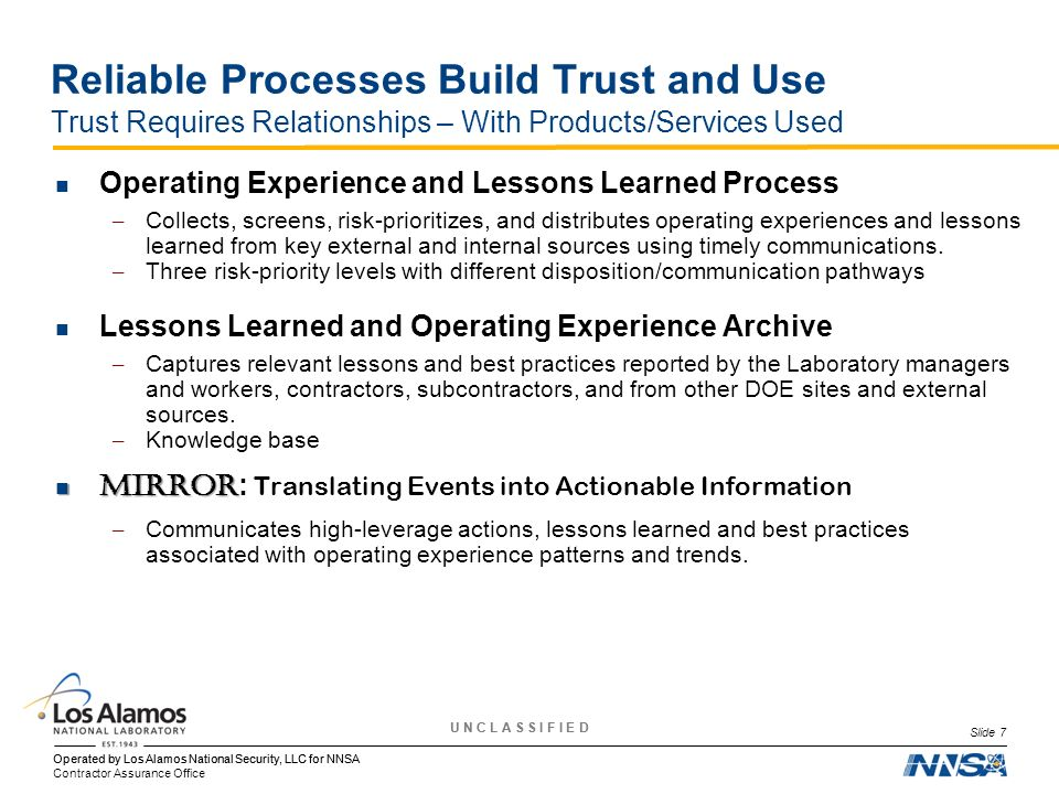 Reliable Processes Build Trust and Use Trust Requires Relationships – With Products/Services Used