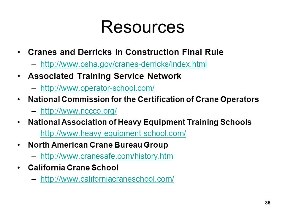 Resources Cranes and Derricks in Construction Final Rule