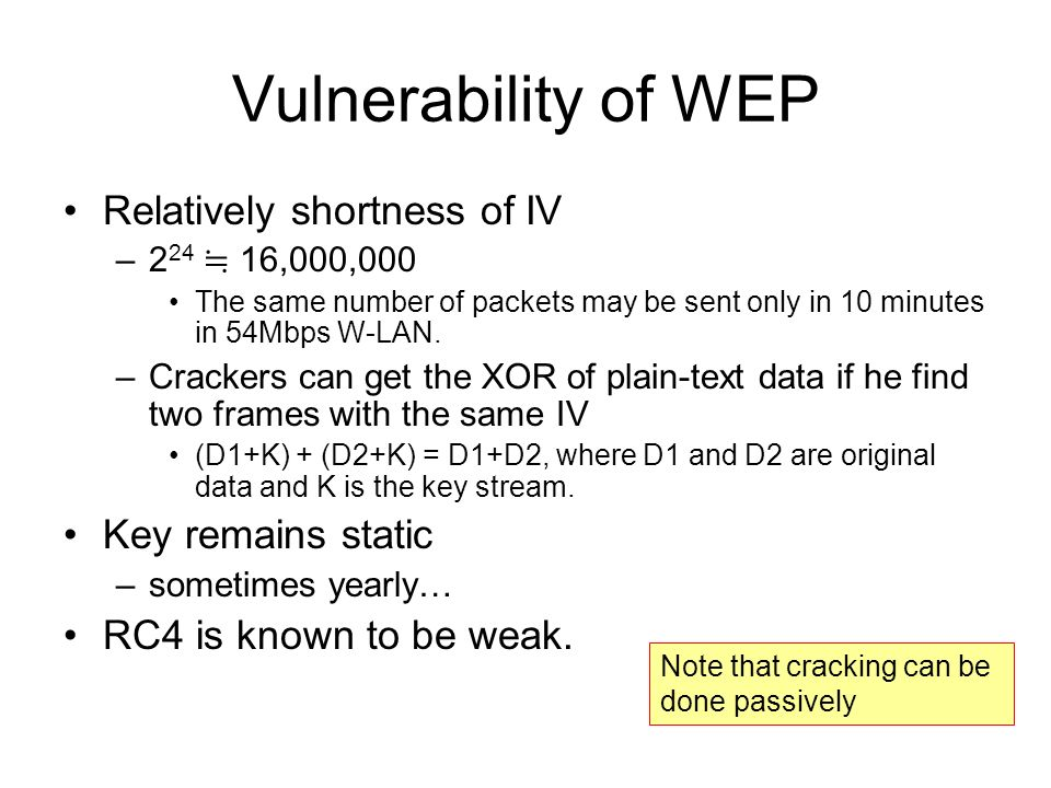 Vulnerability of WEP Relatively shortness of IV Key remains static