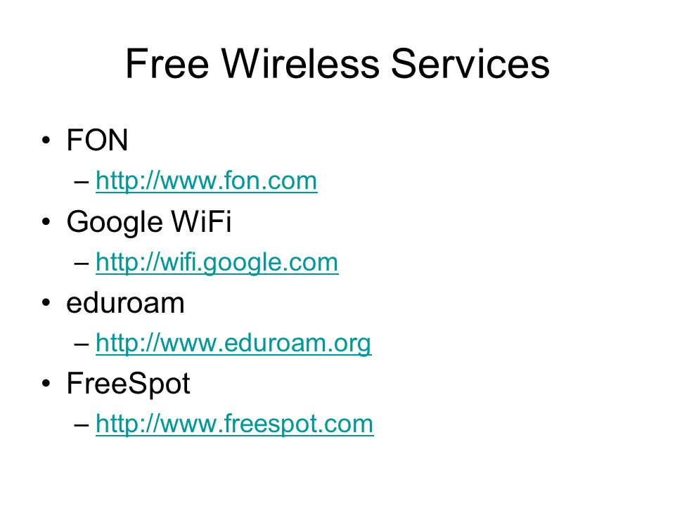 Free Wireless Services
