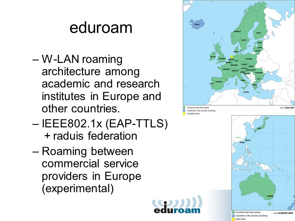 eduroam W-LAN roaming architecture among academic and research institutes in Europe and other countries.