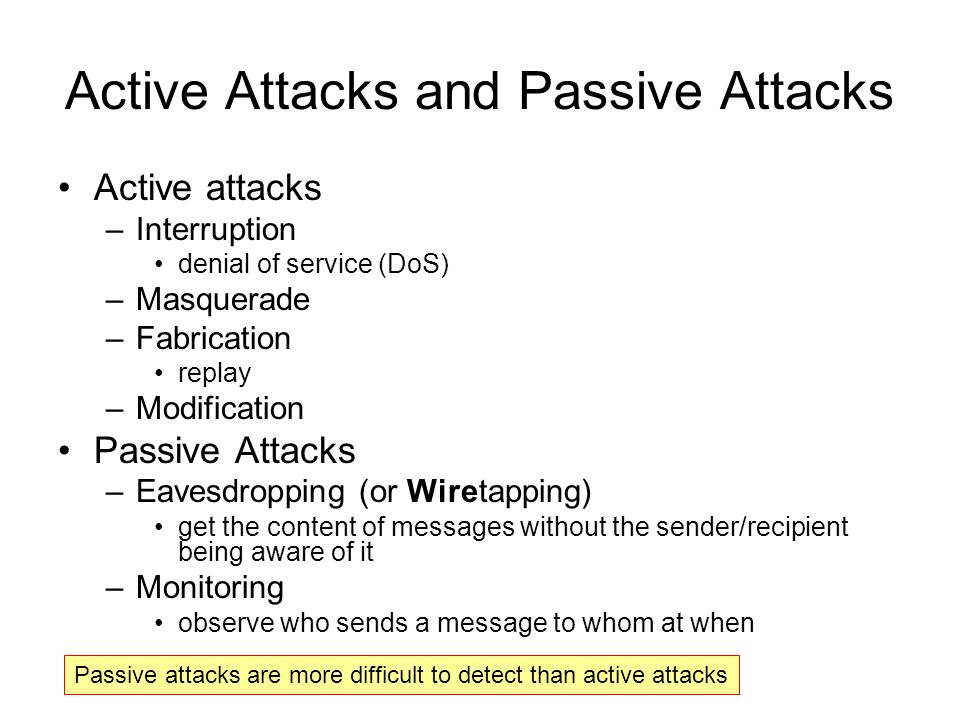 Active Attacks and Passive Attacks