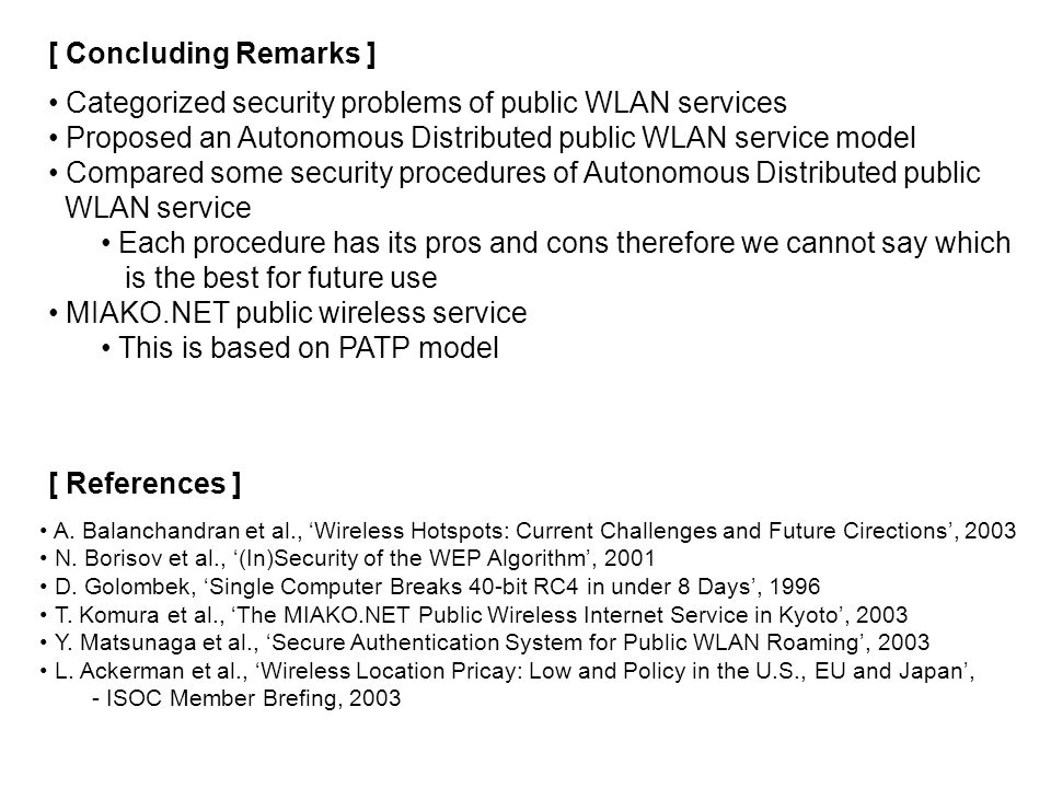Categorized security problems of public WLAN services