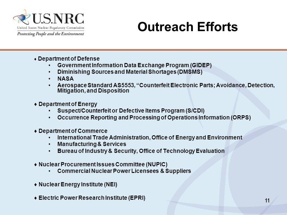 Outreach Efforts Government Information Data Exchange Program (GIDEP)