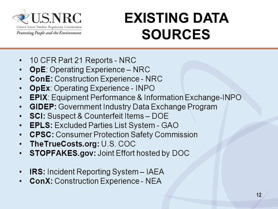 EXISTING DATA SOURCES 10 CFR Part 21 Reports - NRC