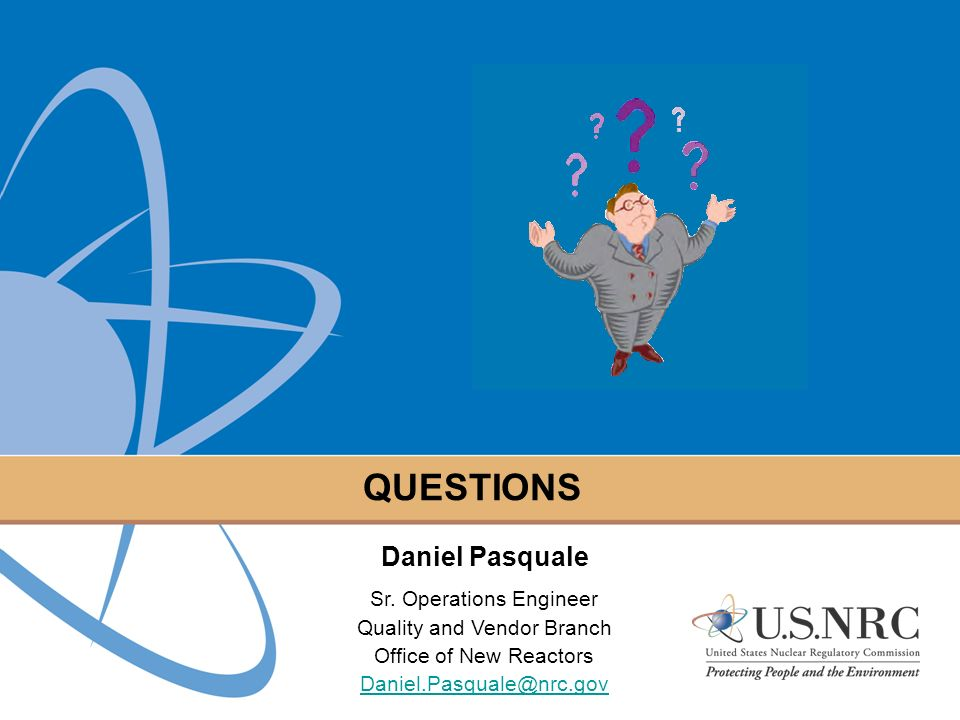 QUESTIONS Daniel Pasquale Sr. Operations Engineer