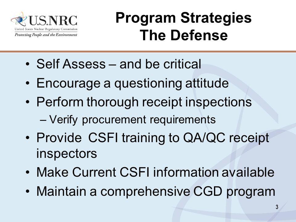 Program Strategies The Defense
