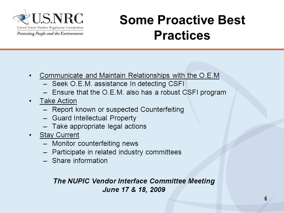 Some Proactive Best Practices