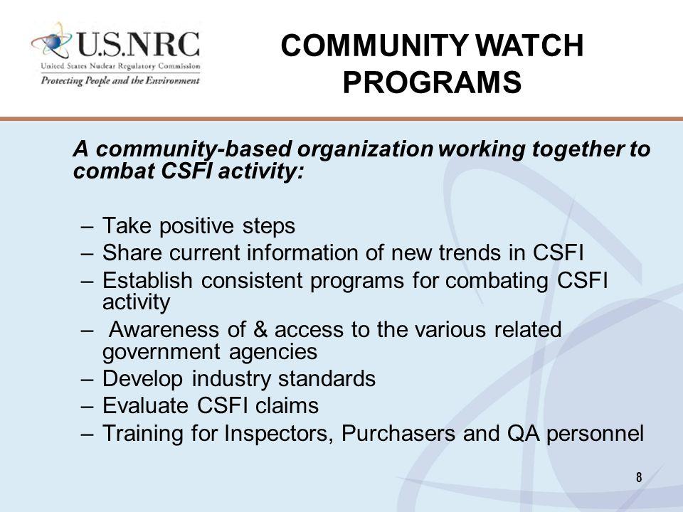 COMMUNITY WATCH PROGRAMS