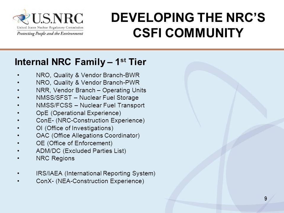DEVELOPING THE NRC'S CSFI COMMUNITY