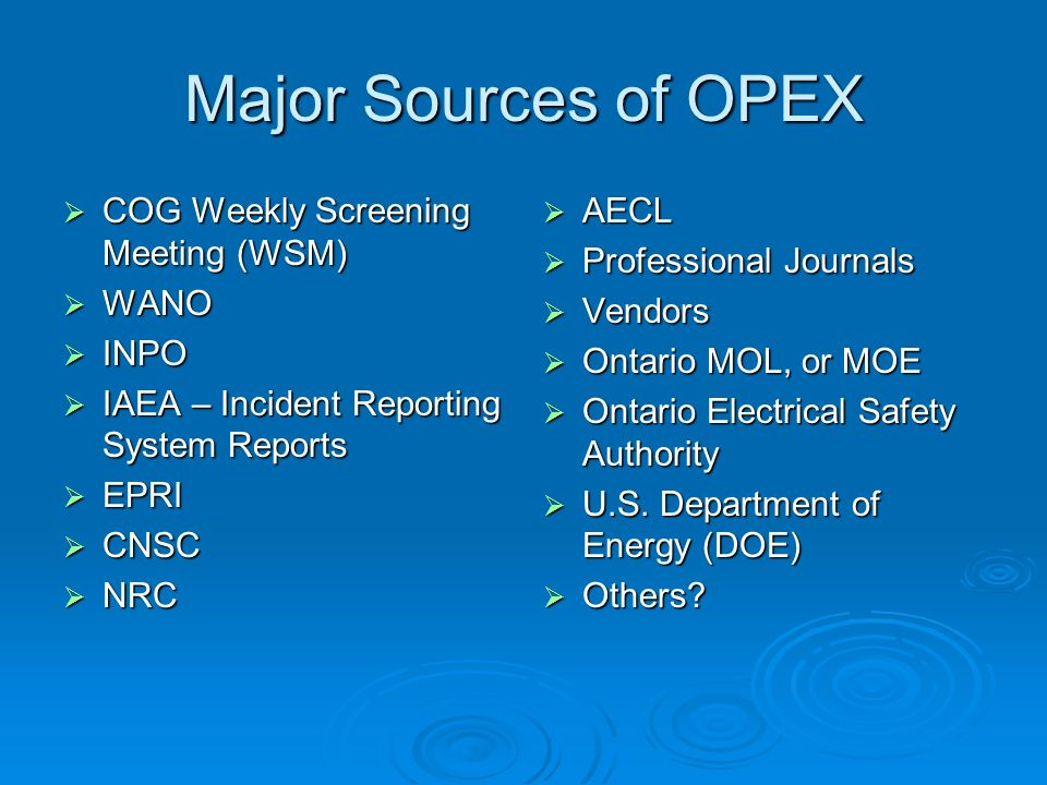 Major Sources of OPEX COG Weekly Screening Meeting (WSM) WANO INPO