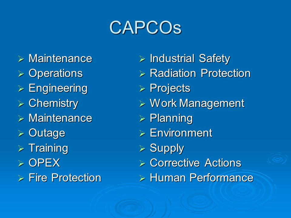 CAPCOs Maintenance Operations Engineering Chemistry Outage Training