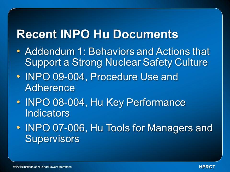 Recent INPO Hu Documents