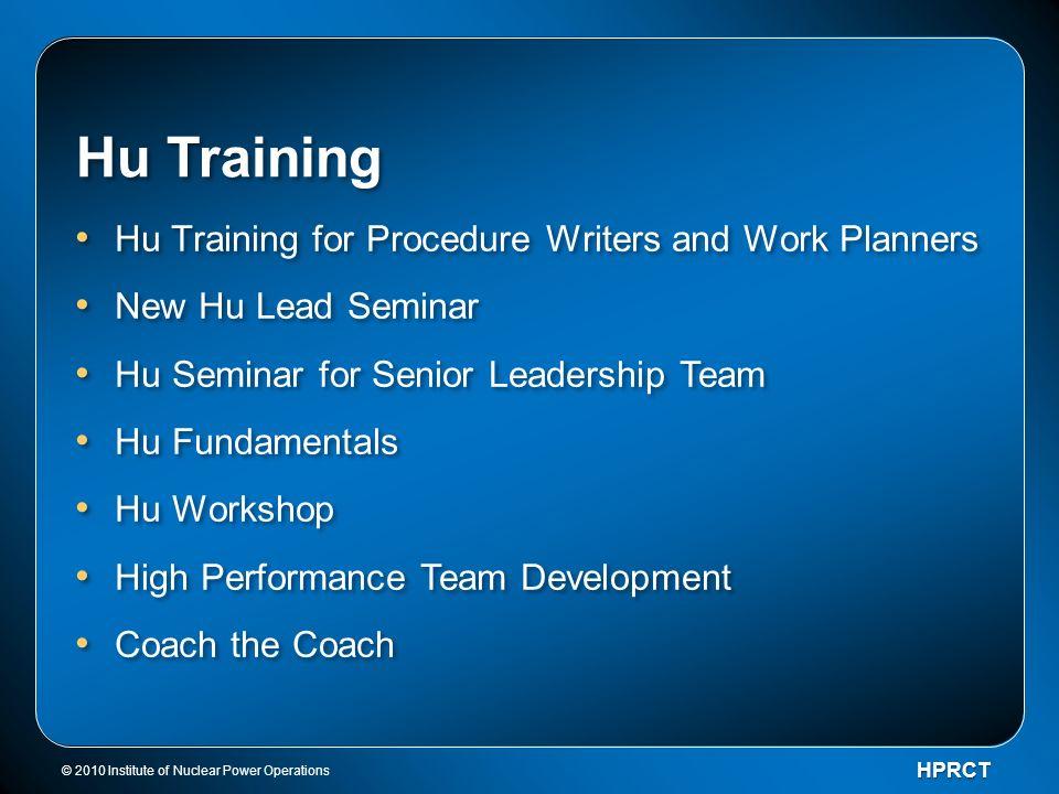 Hu Training Hu Training for Procedure Writers and Work Planners