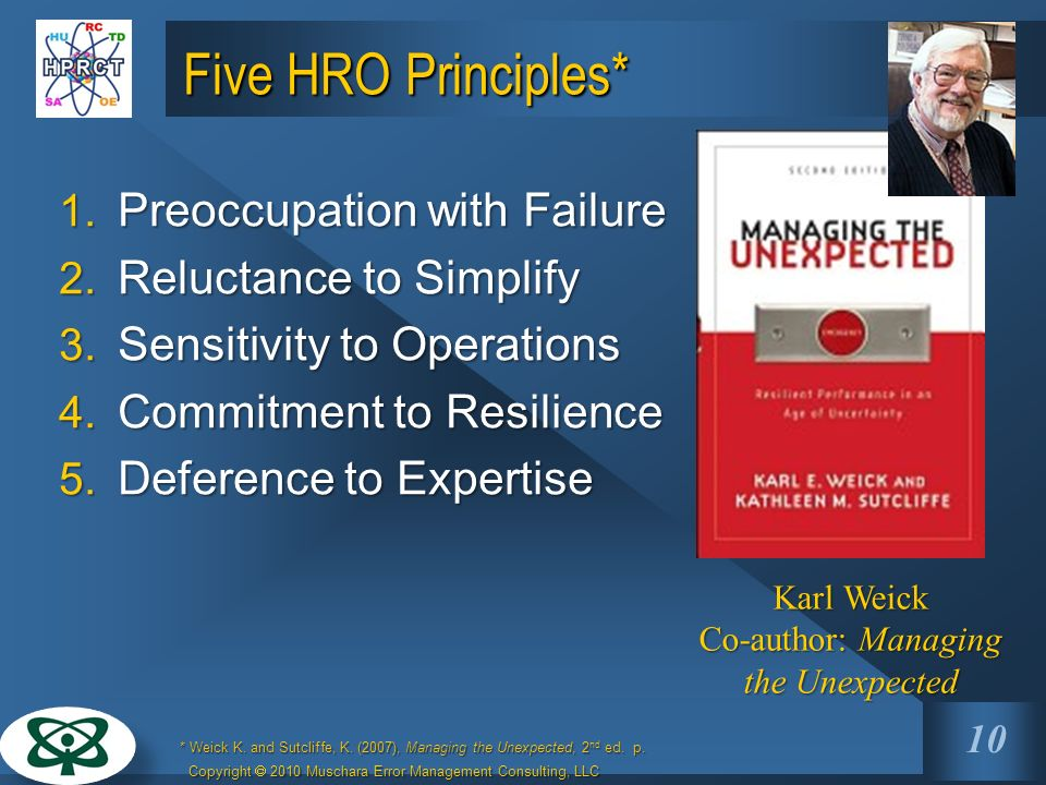 Karl Weick Co-author: Managing the Unexpected