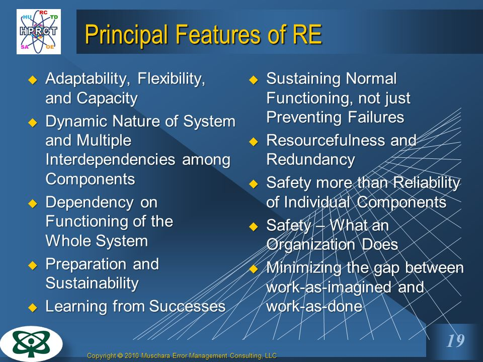 Principal Features of RE
