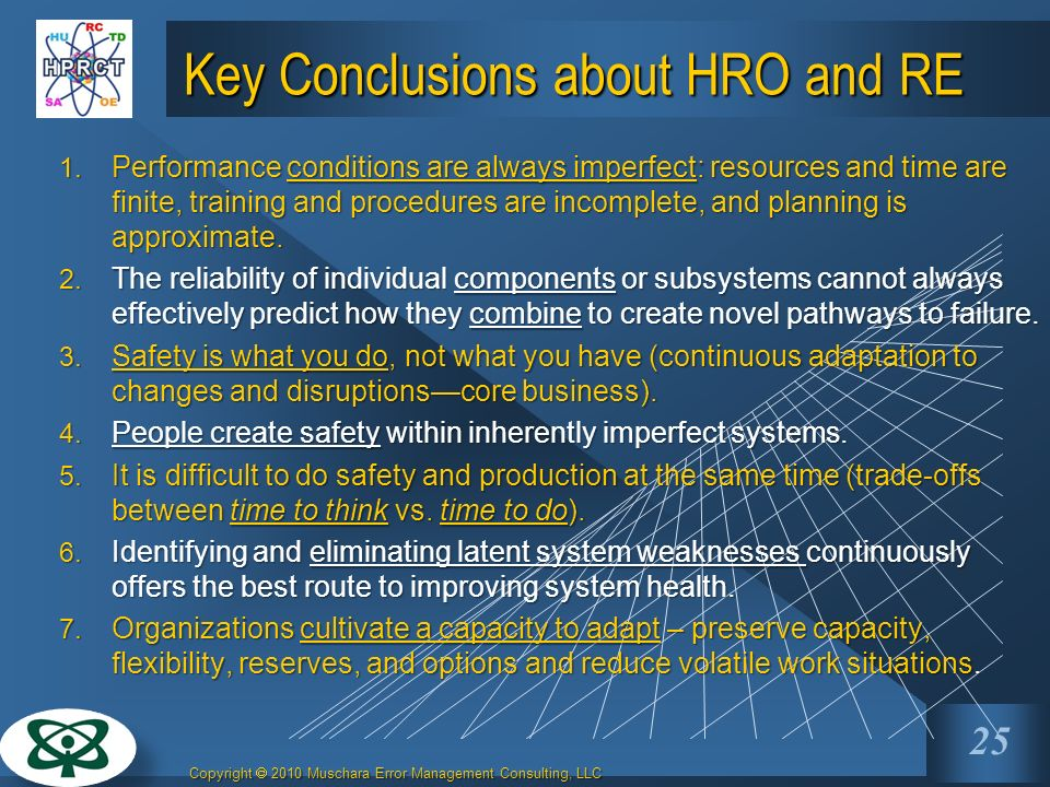 Key Conclusions about HRO and RE