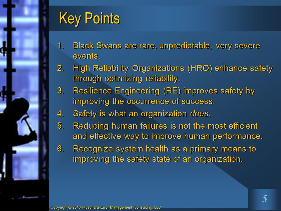 Key Points Black Swans are rare, unpredictable, very severe events.