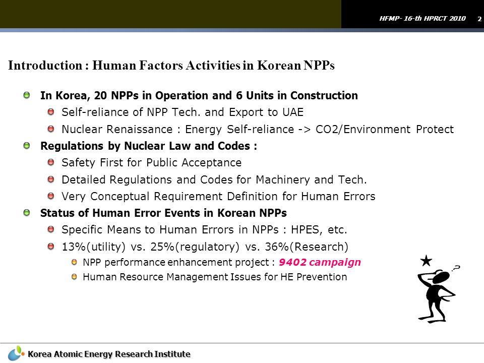Introduction : Human Factors Activities in Korean NPPs