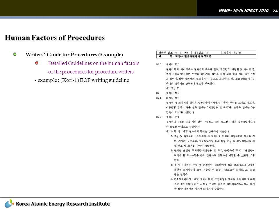 Human Factors of Procedures