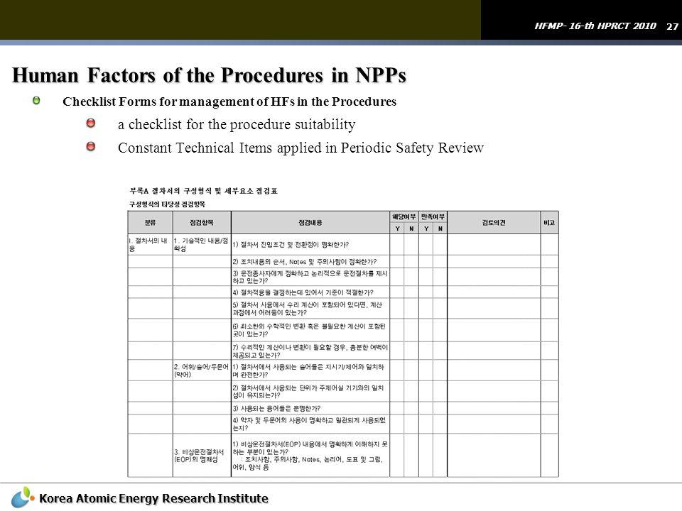 Human Factors of the Procedures in NPPs