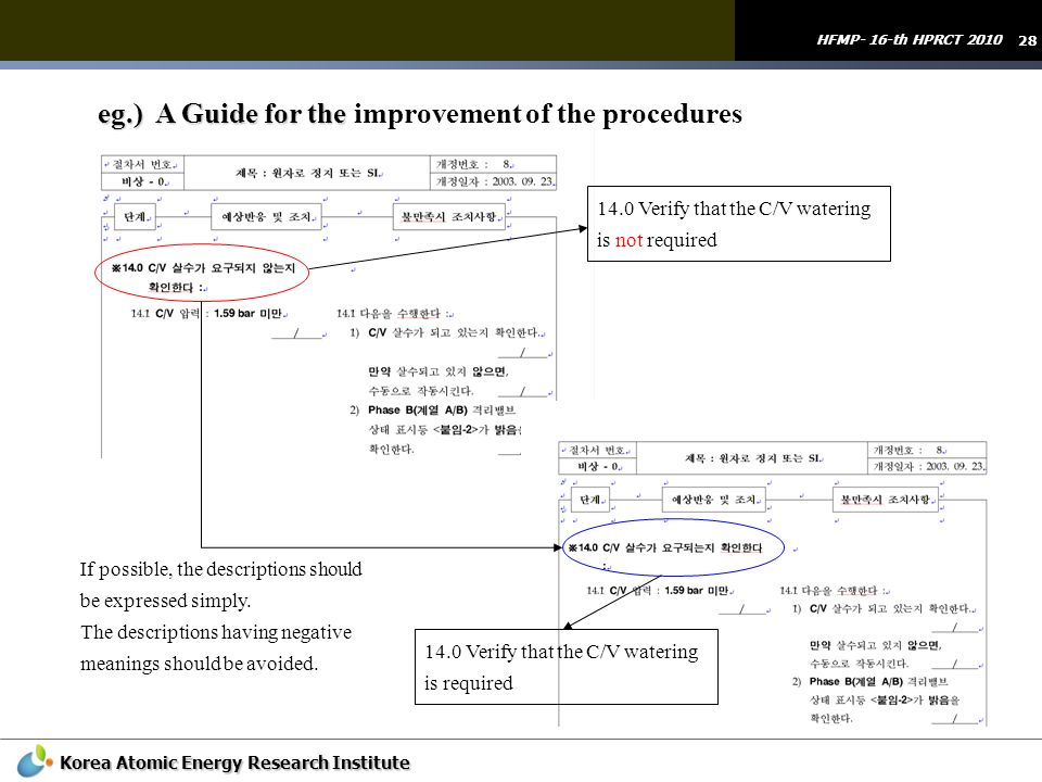 eg.) A Guide for the improvement of the procedures