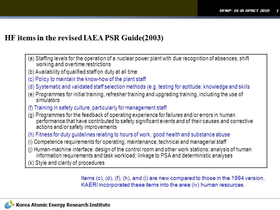 HF items in the revised IAEA PSR Guide(2003)