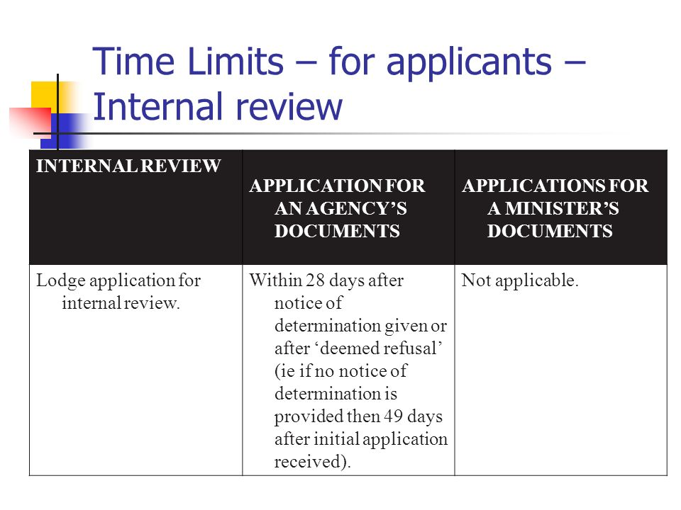 Time Limits – for applicants – Internal review