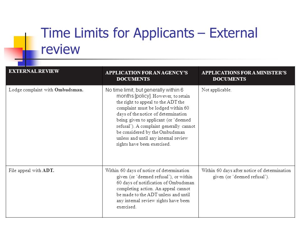 Time Limits for Applicants – External review