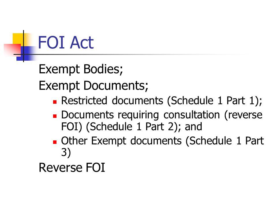 FOI Act Exempt Bodies; Exempt Documents; Reverse FOI