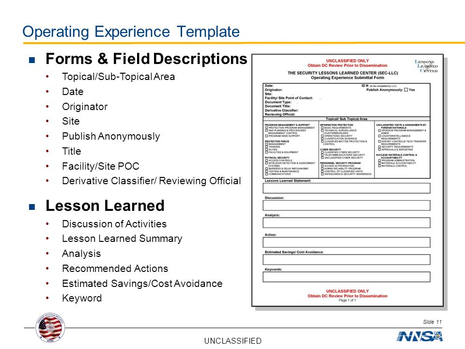 Operating Experience Template