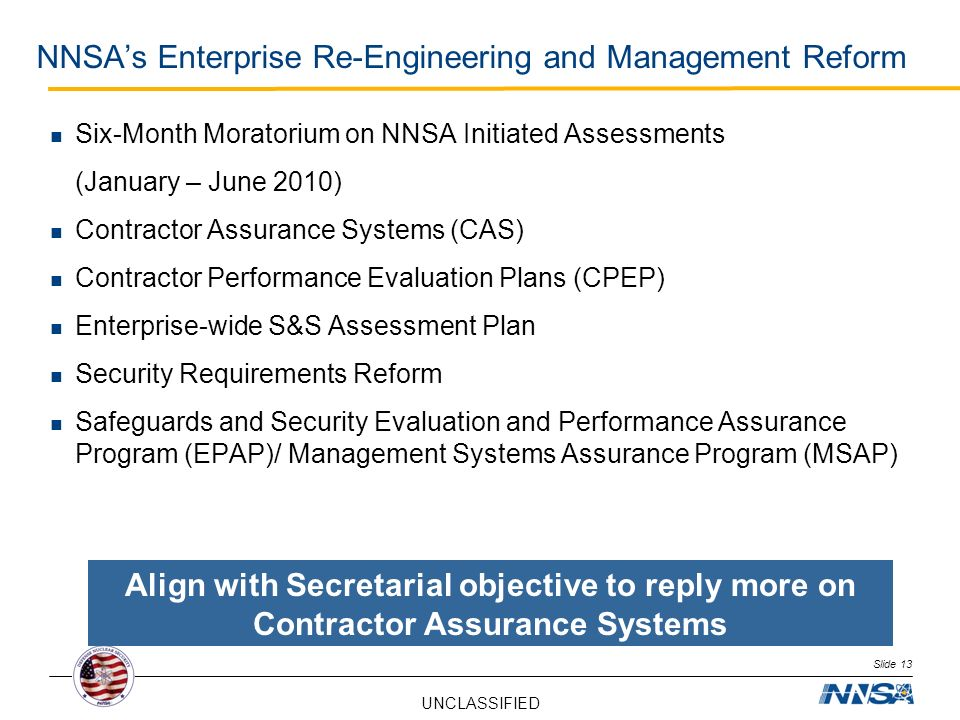 NNSA's Enterprise Re-Engineering and Management Reform