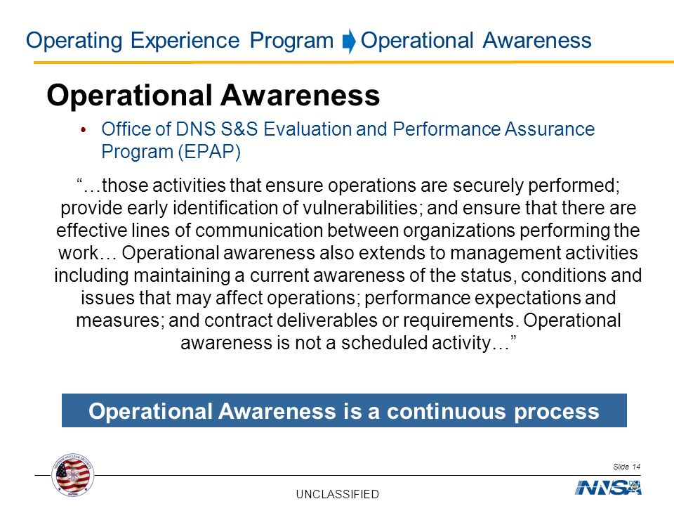 Operating Experience Program Operational Awareness