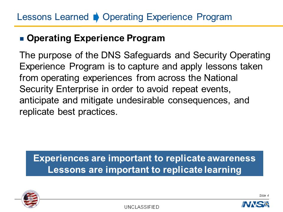 Lessons Learned Operating Experience Program