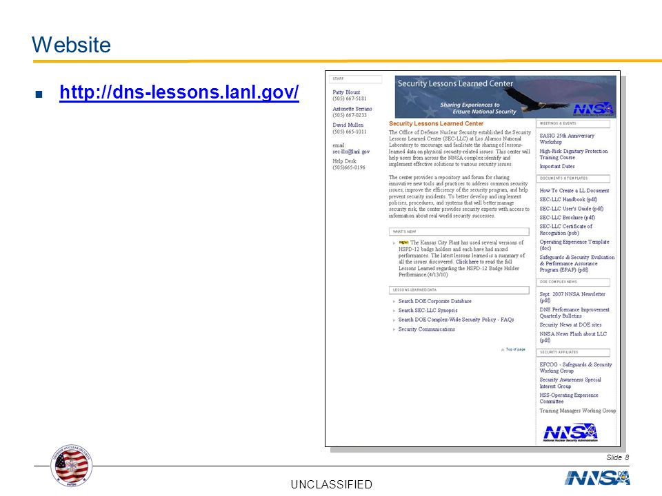 Website http://dns-lessons.lanl.gov/ David Slide 8 UNCLASSIFIED