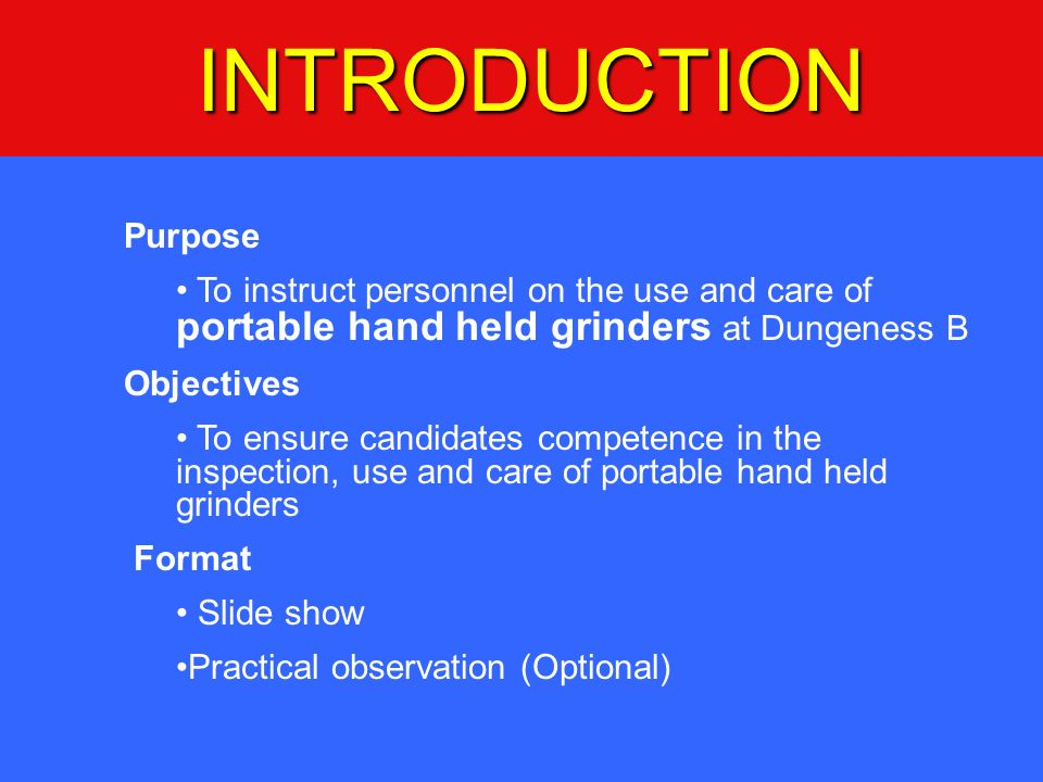 INTRODUCTION Purpose. To instruct personnel on the use and care of portable hand held grinders at Dungeness B.