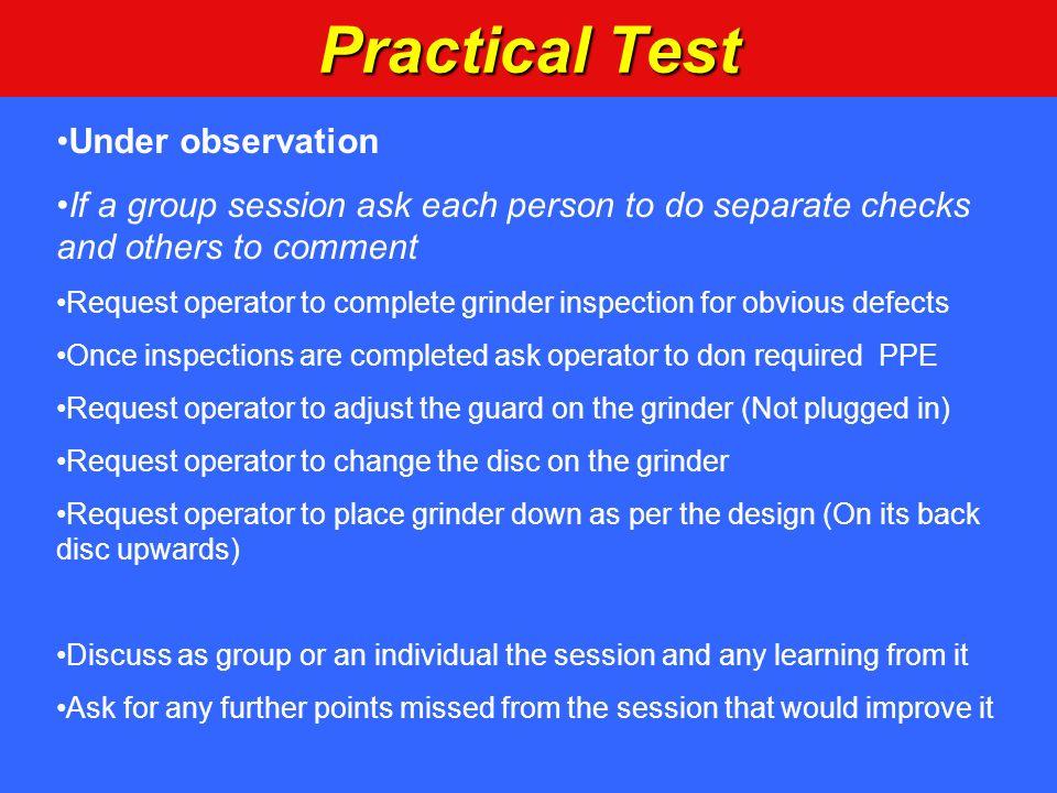 Practical Test Under observation