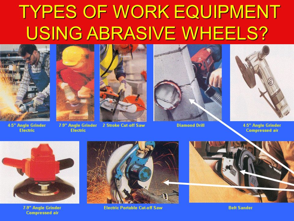 TYPES OF WORK EQUIPMENT USING ABRASIVE WHEELS