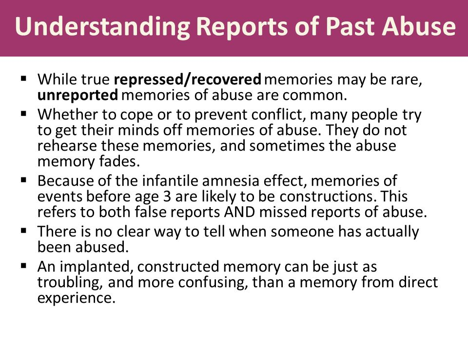 repressed and recovered memories of childhood abuse P335 fletcher notedoc 9/11/03 2003] repressed memories in testimony 339 mind, repressed memories are recovered in whole32 the american psychological association (apa) formally.
