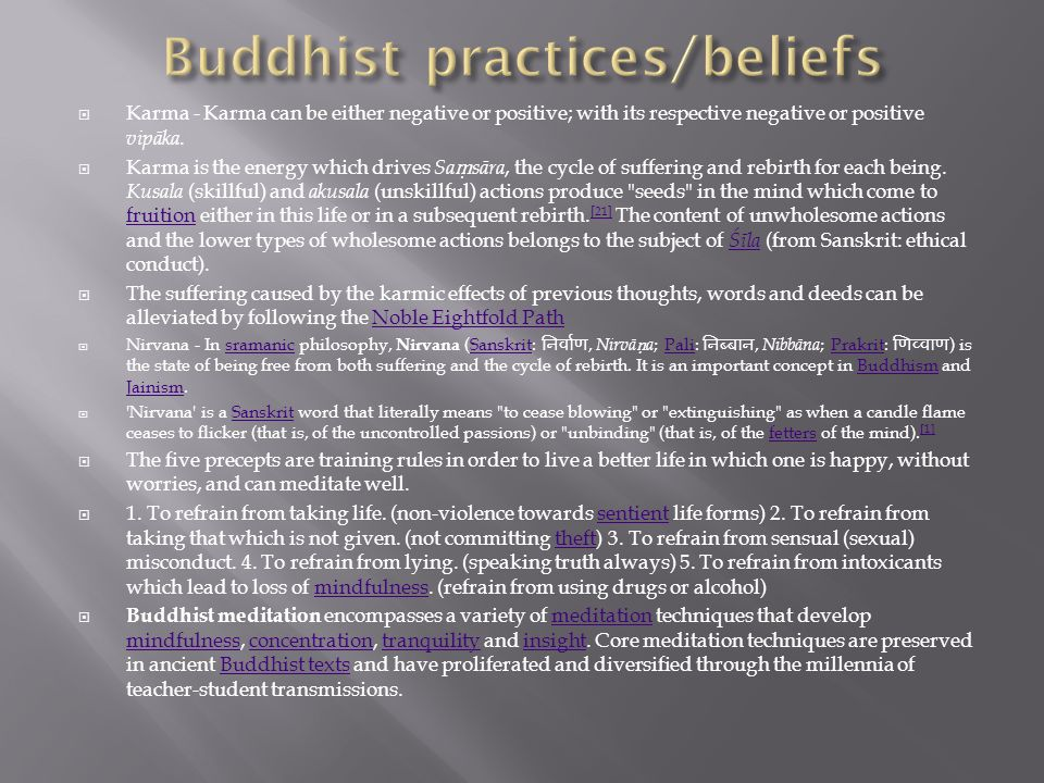 Buddhist practices/beliefs