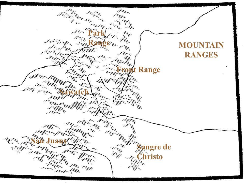 Park Range MOUNTAIN RANGES Front Range Sawatch San Juans Sangre de Christo