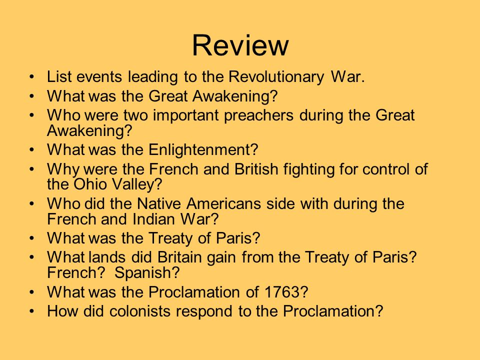 Events which led to the french