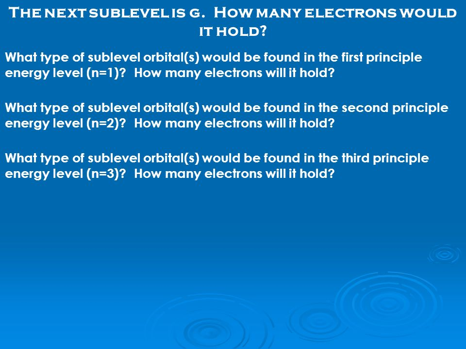 The next sublevel is g. How many electrons would it hold