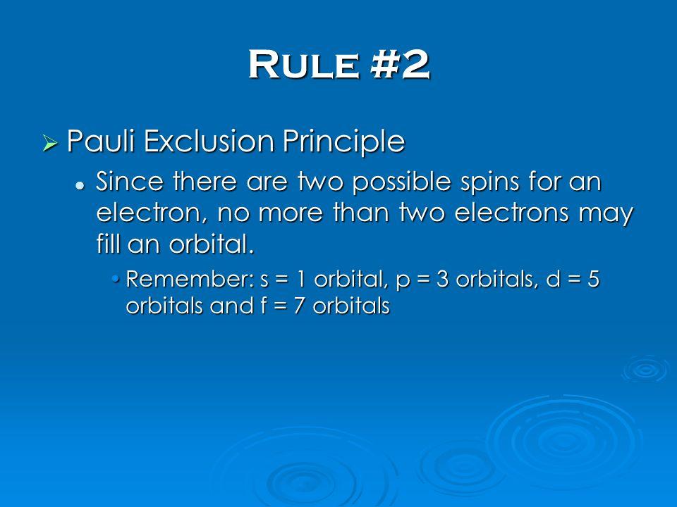 Rule #2 Pauli Exclusion Principle