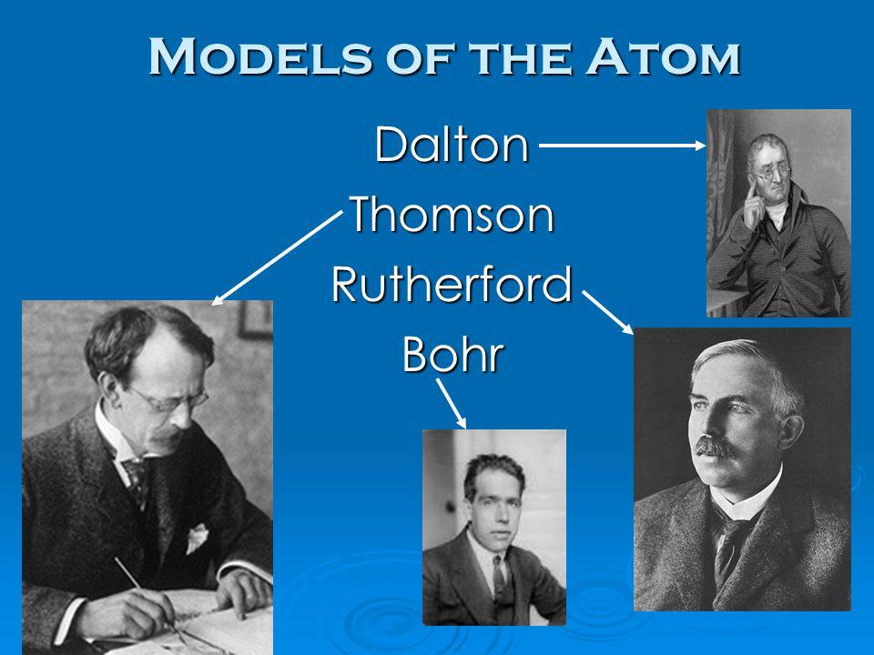 Models of the Atom Dalton Thomson Rutherford Bohr