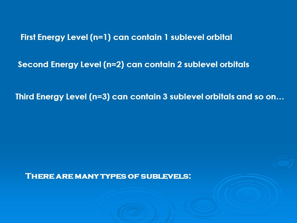First Energy Level (n=1) can contain 1 sublevel orbital